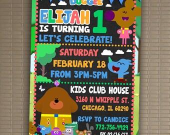 Hey Duggee Invitation, You Print Invitation, Hey Duggee Birthday, Hey Duggee Birthday Party Invitation, Hey Duggee Invite 5x7 Or 4x6