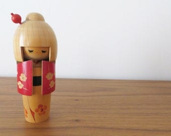 Vintage Japanese Kokeshi Doll with Red Kimono