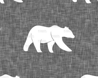 Bears – Grey Linen Fabric by littlearrowdesigncompany