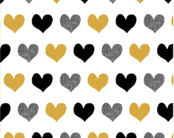 Gold and Black Hearts Fabric by littlearrowdesigncompany