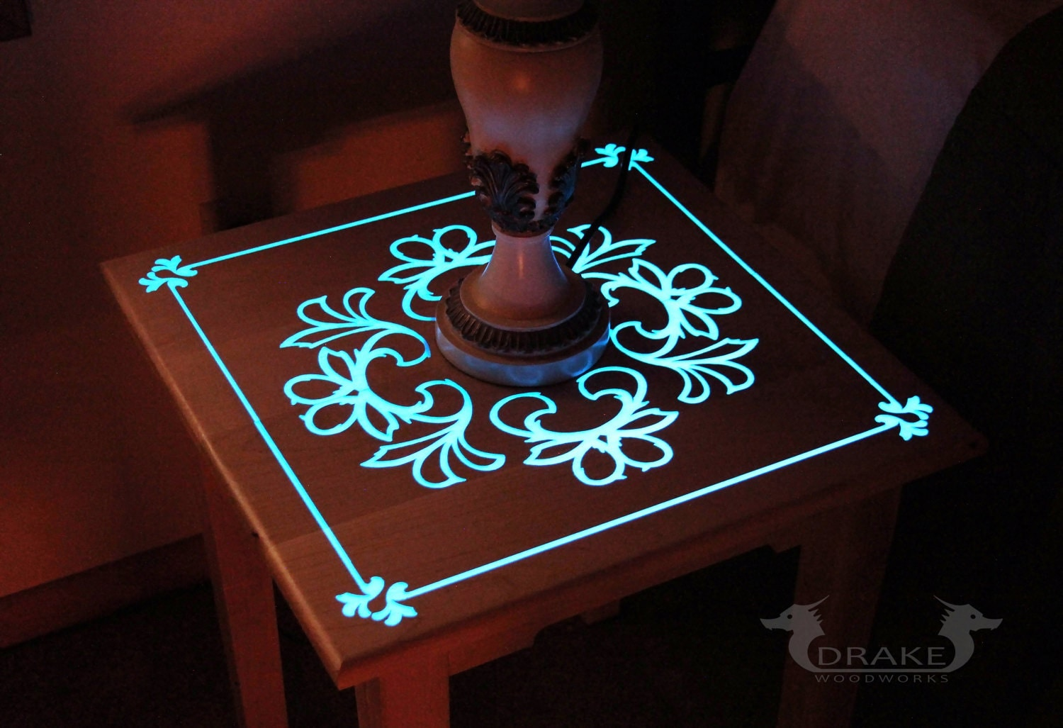 Glow Table Glow In The Dark Table Custom Epoxy Resin End