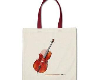 Watercolor Cello Music Instrument Tote Bag