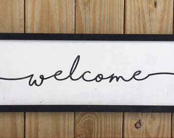 Welcome Framed Wood Sign