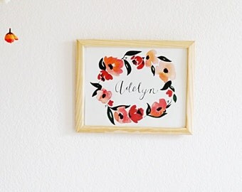 Print    Personalized print    Watercolor name print    personalized calligraphy