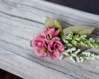 Pink hair flower, wedding hair flower, wedding hair clip, flower hair clip, floral hair clip, wedding floral hair accessory