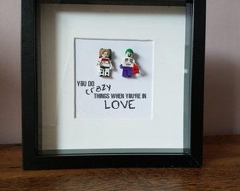 Super Villan//Joker//Harley Quinn//Suicide Squad//Minifigure//Gift//Geek//Love//Shadow Box Frame//Lego//Valentines//Engagement//Anniversary