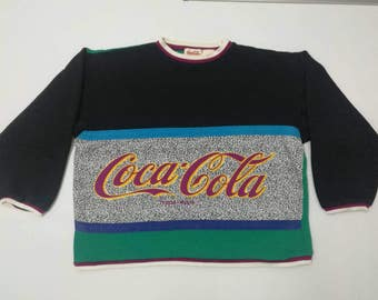 Rare COCA COLA Sweatshirts Large Size Colour Block
