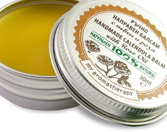 All natural Calendula Marigold Balm with Rose Oil for normal or dry skin 30ml