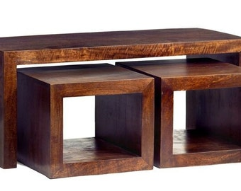 Dakota mango wooden coffee table set with 2 x side tables - Handcrafted