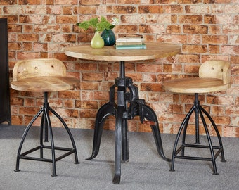 Cosmo industrial coffee/dining table - Wood + Iron - Adjustable height