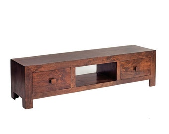 Toko dark mango plasma 2 drawer tv unit cabinet - Handcrafted eco friendly