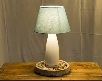 Upcycled Shell Lamp With Blue Shade
