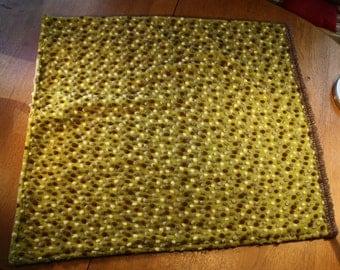 Baby blanket green in wool and fleece