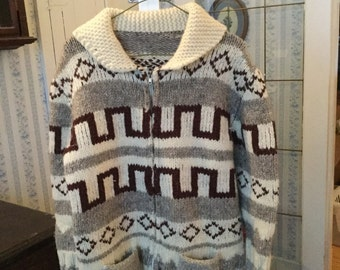 REDUCED! Warm and cozy vintage hand knit wool Cowichan siwash sweater
