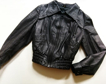 LeaTher jacket XS S 70s 80s leather jacket ViNtage hippie retro oldSchool CoaCheLla