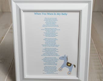 "Mom to Be Gift, ""When You Were In My Belly,"" Baby Shower Gift, Pregnancy Poem, Expecting Mom Gift, Nursery Wall Art, Baby"