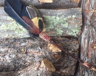 """Smudge Fan Prayer Fan - Beautiful 16.5"""" fan on salt cedar wand with turkey, duck and pheasant feathers"""