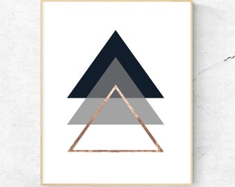 Geometric Triangles Rose Gold Wall Art. - Digital Prints, Instant Download - Home Decor, Wall art, print.