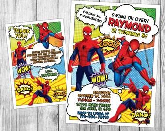 Spiderman Invitation, Spiderman Birthday, Spiderman Invite, Spiderman Party, Spiderman Printables, Spiderman Custom, FREE 4x6 Thank You Card