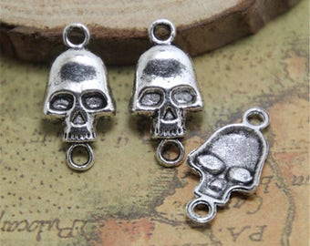 15pcs Skull connectors Silver tone Day of the Dead charm pendants 27x11mm ASD0729