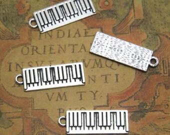 10pcs Silver tone Piano Charms Pendants, Keyboard Music Charm 26x8mm ASD1275