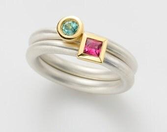 Cocktail ring TOURMALINE RUBELLITE PINK, princess cut kl., 18 k gold and silver, engagement, stacking ring