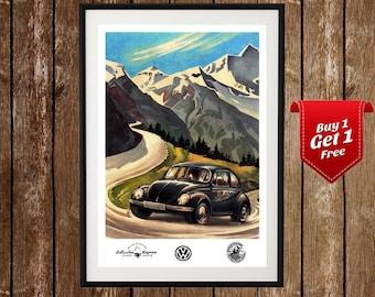 VW Beetle - Vintage Volkswagen Poster, Volkswagen Vintage, Old Car Poster, Beetle Poster, VW Beetle Ad, Vintage Car Ad, Vintage Auto Ad