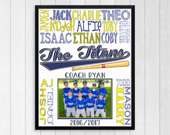 BASEBALL TEAM PHOTO Gift ~ Baseball Coach Gift ~ Baseball Manager ~ All Stars Team Gift ~ Baseball Printable ~ Custom Baseball Gift