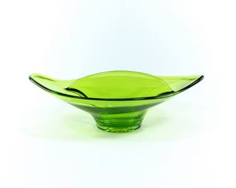 Viking Glass # 1160 - 2 Part Relish - Candy Dish - Avocado Green