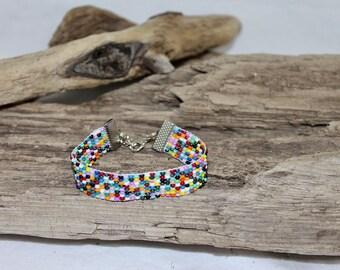 Bracelet, cuff of glass Bead 10/0