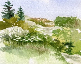Blank Watercolor Greeting Card Landscape or Watercolor Giclee Print