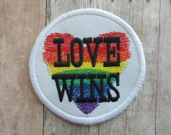 Love Wins Patch, Embroidered Canvas with Choice of Finding, Rainbow Heart, LGBT Badge, Marriage Equality, Gay Lesbian Pride, Made in USA