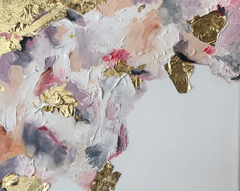 Rise Series #5: Original Abstract Oil Painting w/ Gold Leaf