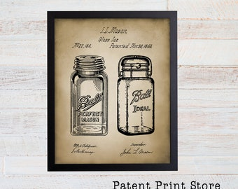 Mason Jar Patent Print. Farmhouse Decor. Farmhouse Wall Art. Farmhouse Wall Decor. Kitchen Art Decor. Farmhouse Sign. Dining Room. 71