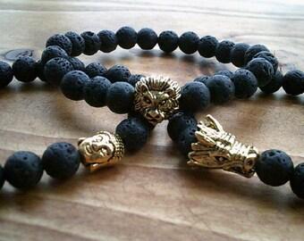 Natural Healing Volcanic Lava Bead Bracelet, Lion Dragon Buddha Bracelet, Gemstone Bangle Jewelry, Gemstone Beaded Bracelet Jewellery
