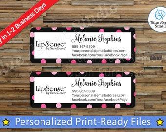 Lipsense Labels Stickers Printable Address Label Logo Digital Printed Personalized Name Custom PDF Sticker Vistaprint Polka Dot LPS-AL106
