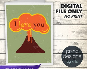 Just for Fun Card - Printable Valentines Day Card - Printable Card - Valentines Day Card - Lava You Card - Instant Download Folded Card