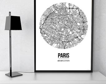 Poster map Paris Street Map - City map, post town, wall Decoration, city map