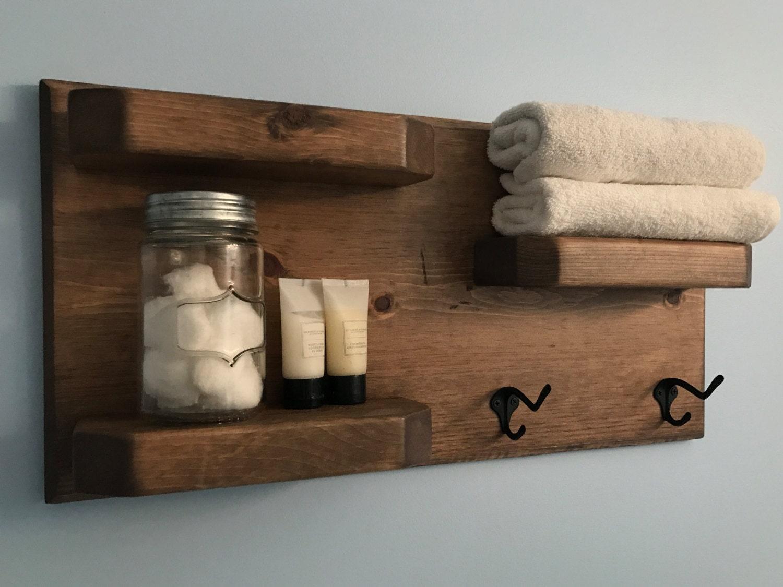 Weathered Oak Rustic Bathroom Shelves With Towel Hooks