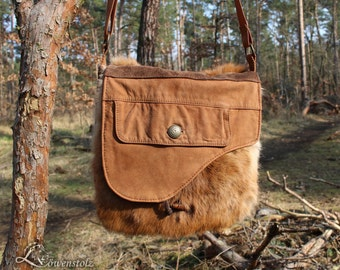 Leather case with rabbit fur, Upcycling
