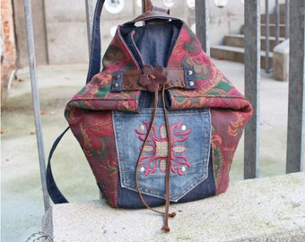Backpack/bag in retro style, leather - Upcycling