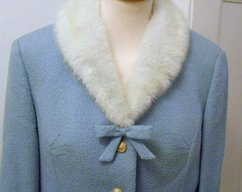 lovely pastel-blue 60s costume with mink collar