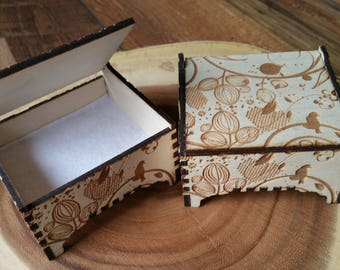 Floral Trinket Box / Bird / Wooden Box / Trinket Box / Jewellery Box / Gift Box / Flower / Woodland / Fairy / Rustic / Enchanted