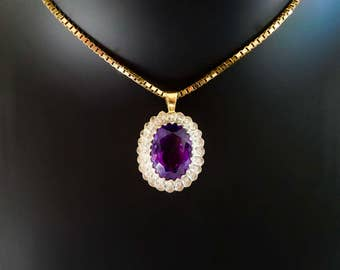 18ct, amethyst & diamond pendant, amethyst and diamond cluster necklace, amethyst halo necklace, vintage amethyst cluster necklace,