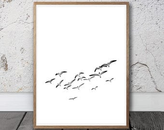 Birds Print - Printable Photo, Flying Birds Print, Flock Of Birds Wall Art, Minimalist Decor, Black And White Photo, Sea Print, Beach Photo