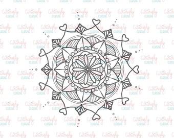 Heart Mandala Print Out. 4x6.