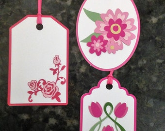 Crafty Tags by Kristin Dimensional Layered Flowers Roses Tulips Pink Gift Tag Assortment Pack of 3