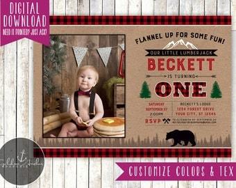 Lumberjack Birthday Invitation, Forest Party Invitation, Red Buffalo Plaid, Woodland, Camping, Bear, Photo - Printable DIY