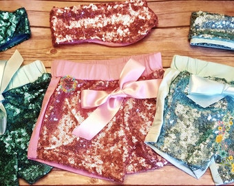Super Cute Bling Sequined Shorts for Baby Girl, Little Girl and Toddlers comes with Head Wrap Bow. Baby Shower, Any Occassion Girl Gift