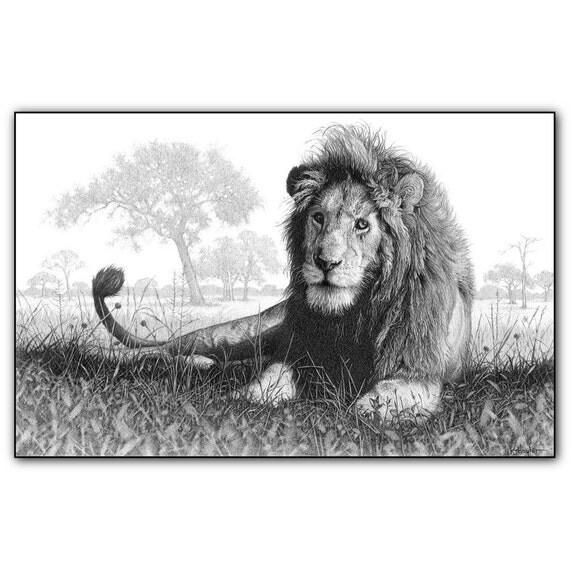 Len imprime imagen fauna pared arte animal dibujo lpiz